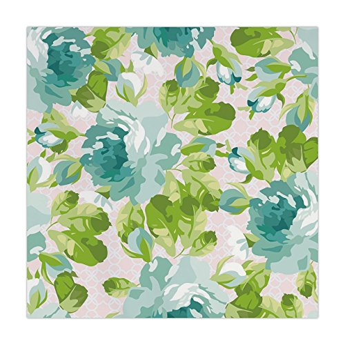 iPrint Satin Square Tablecloth,Shabby Chic Decor,Tropical Botany Garden Theme Blue Roses Leaves Bouquets,Turquoise Green Light Pink,Dining Room Kitchen Table Cloth Cover