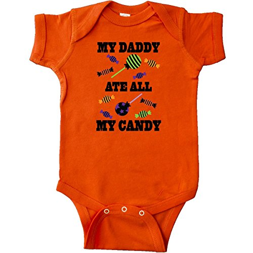 Inktastic - Halloween Funny Daddy Ate My Candy Infant Creeper 12 Months Orange