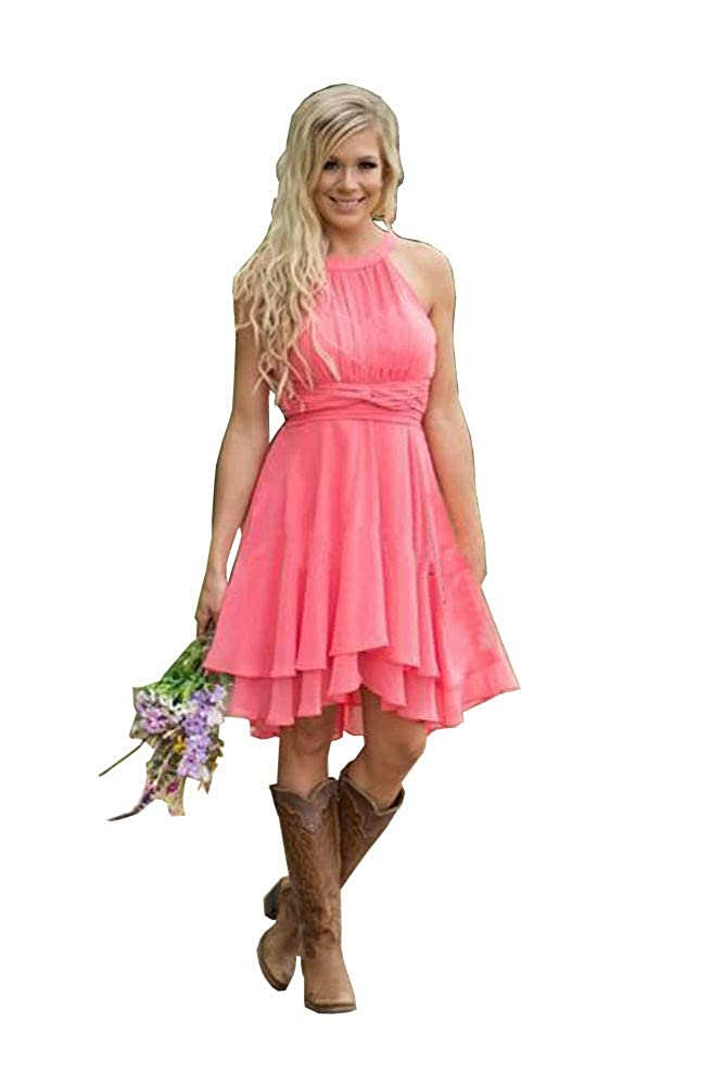 Coral FJMM HiLo Prom Dress 2 Layers Pleated Bridesmaid Gown for Beach Wedding