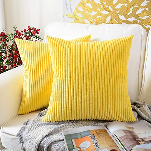 MERNETTE Pack of 2, Corduroy Soft Decorative Square Throw Pillow Cover Cushion Covers Pillowcase, Home Decor Decorations for Sofa Couch Bed Chair 20x20 Inch/50x50 cm (Striped Lemon Yellow) (Home Decor Cushions)