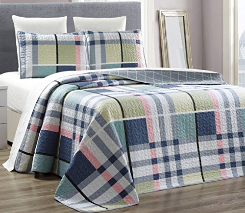3 Piece printed Reversible Bedspread Coverlet product image