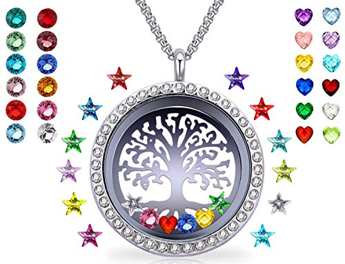 YOUFENG Floating Living Memory Locket Pendant Necklace Family Tree of Life Birthstone Necklaces (36 Birthstone ()