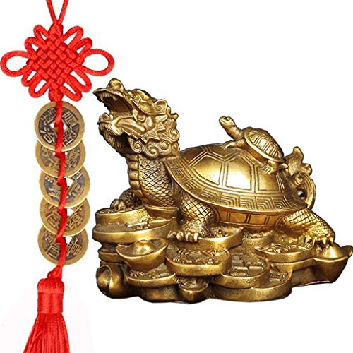 Amperer Feng Shui Brass Dragon Turtle Statue Wealth Prosperity Sculpture with Set of 5 Lucky Charm Ancient Coins on Red String Best Housewarming Congratulatory Gift Home Decor (C2 Dragon Turtle) ()