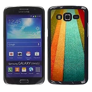 FECELL CITY // Duro Aluminio Pegatina PC Caso decorativo Funda Carcasa de Protección para Samsung Galaxy Grand 2 SM-G7102 SM-G7105 // Textile Texture Orange Pastel Tones Lines