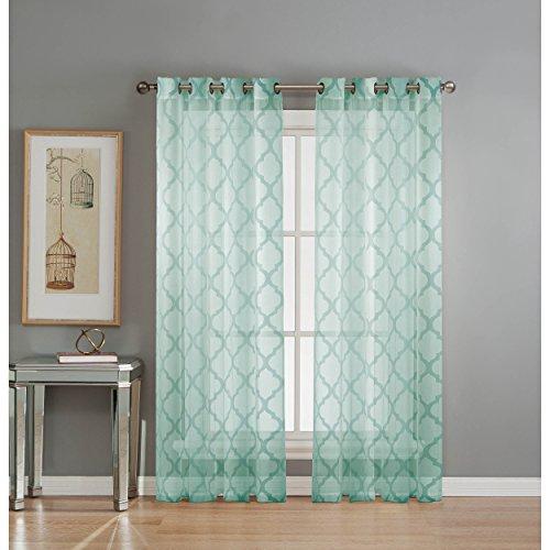 Window Elements Lattice Cotton Blend Burnout Sheer 76 x 84 in. Grommet  Curtain Panel Pair,  Aqua (Window Covering Ideas)