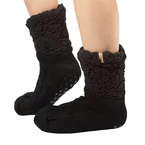 Unique Styles Women Plush Sherpa Lined Slipper Socks with Non Skid Sole Knit Warm Cozy Soft Footwear (Solid Black)