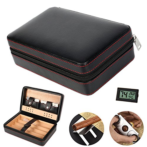 COMMODA Portable Genuine Leather Cedar Cigar Travel Case Cedar Humidor with Cutter Lighter Set Wooden Box for 4 ()
