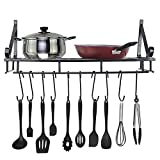 NszzJixo9 Wall Mounted Square Grid Pot Pan Rack, Kitchen Cookware Storage Organizer with 10 Hooks,Withstand 30-40 pounds
