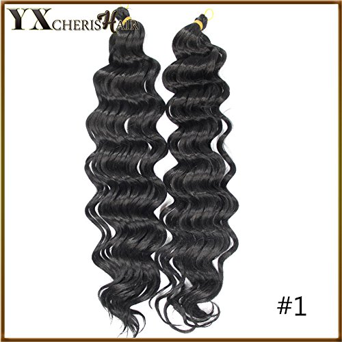 YXCHERISHAIR Premium Synthetic Deep Wave Hair Extensions Ombre Crochet Braids for Women Freetress Water Wave Synthetic Braiding Curly Hair Bundles (20 inch, #1)
