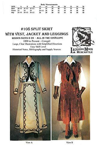 (Misses Western Split Skirt, Jacket, Vest and Leggings Pattern (1890 - Present))