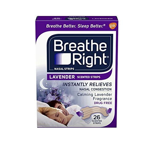 Breathe Right Nasal Strips to Stop Snoring, Drug-Free, Calming Lavender, 26 count ()