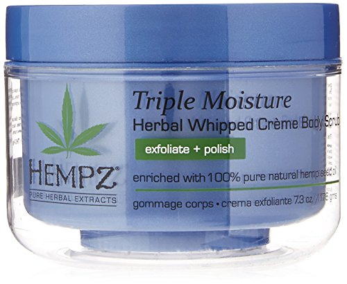 Hempz Triple Moisture Herbal Whipped Creme Body Scrub, Light Blue, Enchanted Grapefruit/Sparkling Peach, 7.3 Fluid Ounce