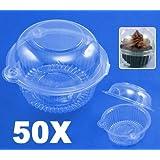 50 Large Cupcake Muffin Cake Pod Dome Case Holder Box
