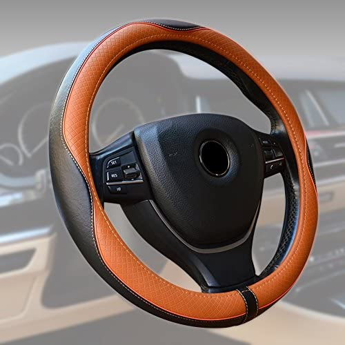Breathable Anti-slip Stearing Wheel Cover Protector Black/&Blue Genuine Leather Car Steering Wheel Cover Universal 15 inch//38CM Fits for Auto//Truck//SUV//Van