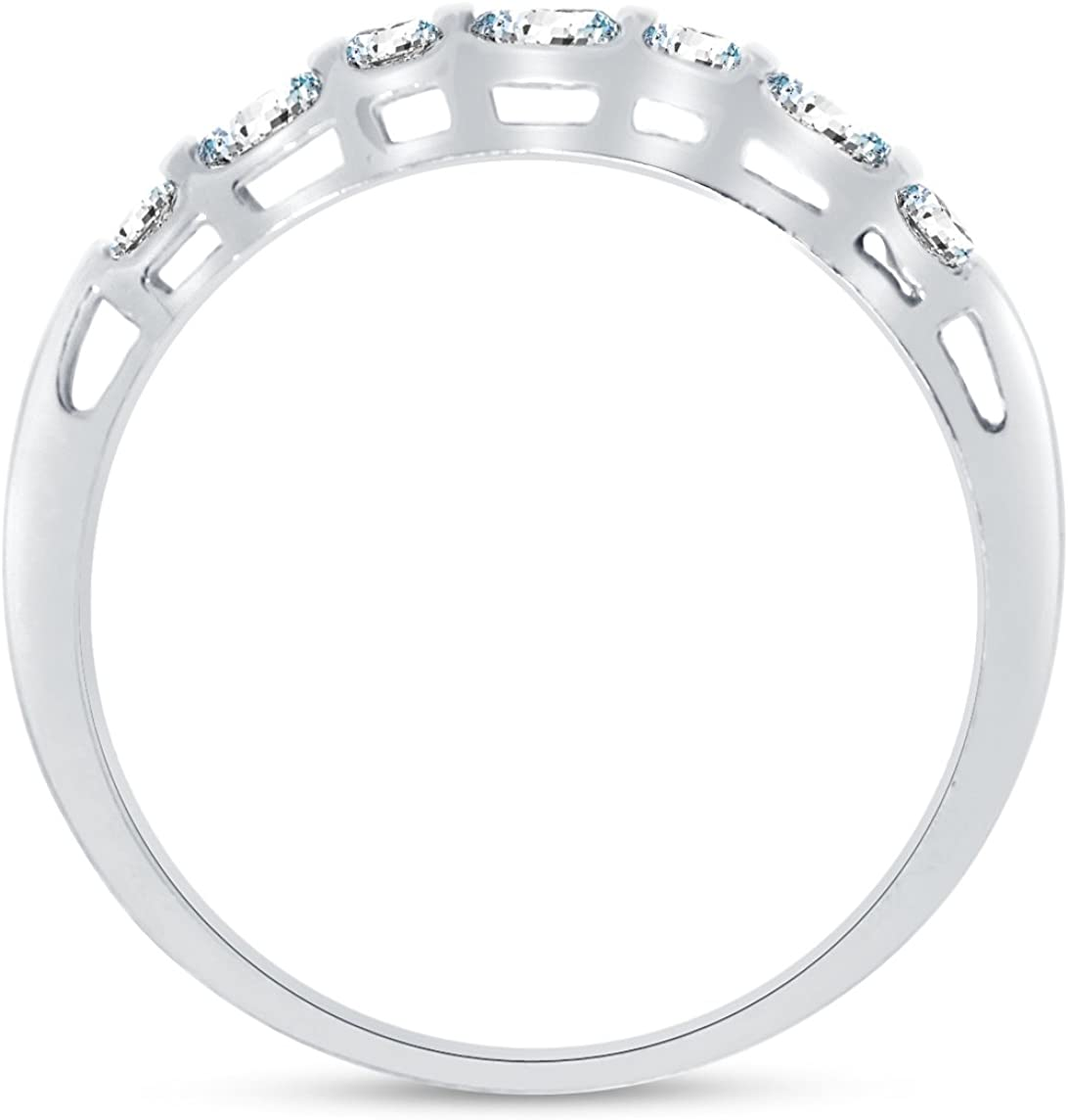 Bishilin Stackable Ring for Women Emerald /& Round Cut White Cubic Zirconia Size 10.5
