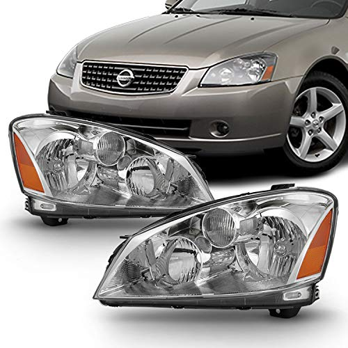 Chrome Housing Clear Lens Fits 2005-2006 Altima Halogen Type Original Manufacturer Style Headlights 05 06 Pair