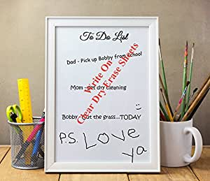 "Clear Dry Erase Sheets (8.5"" x 11""): Premium Heavy Duty 2.5 mil Wall Vinyl Dry Erase Paper Sheets - Peel and Stick Dry Erase Sheets - Dry Erase Decals w/ Square or Round Corners (USA Made!)"