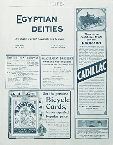 1904 Life advertisement page, cadillac, penn life insurance,bicycle cards, rare 1904 print Illustration ()