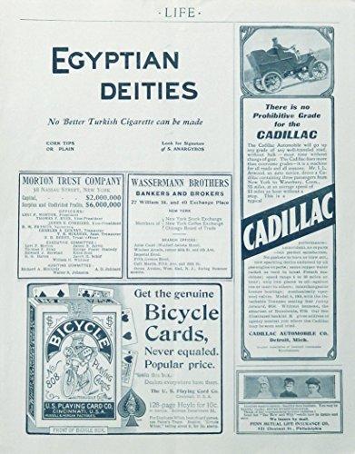1904 Life advertisement page, cadillac, penn life insurance,bicycle cards, rare 1904 print Illustration