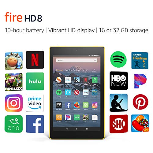 """Certified Refurbished Fire HD 8 Tablet (8"""" HD Display, 32 GB) - Yellow (Previous Generation - 8th)"""