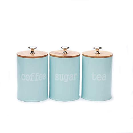 Hot Sale X022S Set of 3 Metal Kitchen Food Storage Tin  Canister/Jar/Container with Bamboo Lid (blue)