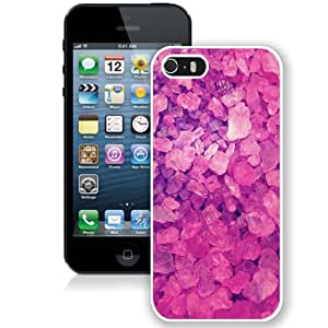NEW Unique Custom Designed iPhone 5S Phone Case With Pink Crystals Lockscreen_White Phone Case