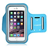 """iPhone 6 Plus Armband, iPhone 6s Plus Armband, MoKo Sports Running Armband with Key Holder & Card Slot Sweatproof Gym Jogging Fitness Arm Band Case Cover, Light BLUE (Fits Cellphones up to 6.0"""")"""