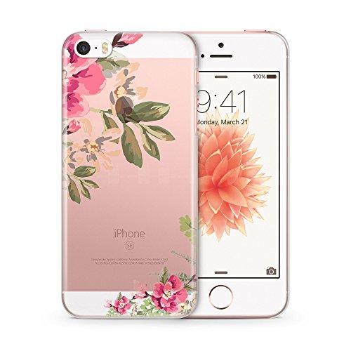 iPhone 5   5S   SE TRANSPARENT SLIM Hülle - Tropische Blumen Pink Rahmen - Hardcase Cover Case Schale Schutz Schutzhülle Flower Tropical Blume Blüte Blüten Durchsichtig Bedruckt