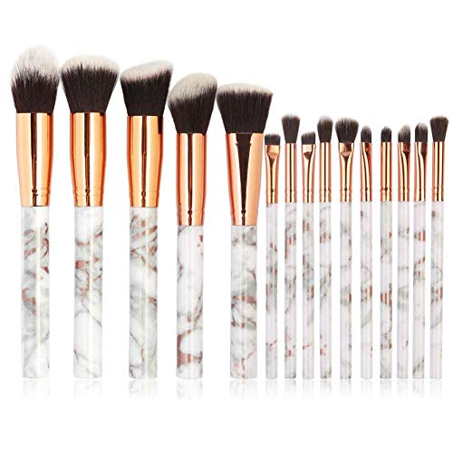 Marble Makeup Brush Set, Coshine 15pcs Marble Nylon Hair Plastic Handle Makeup Brushes, for Foundation, Eyeshadow, Contour, Blush, Loose Powder and Shade