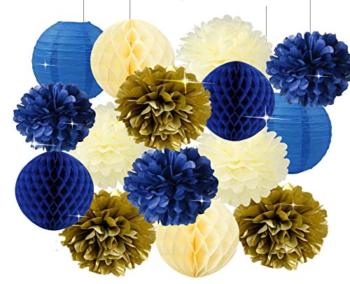 Furuix Royal Prince Baby Shower Decorations Navy Cream Gold Bridal Shower Decorations Tissue Pom Pom Flower Navy Honeycomb Balls for 1st Birthday Boy Prince Party Supplies Birthday Party Decorations for $<!--$15.89-->