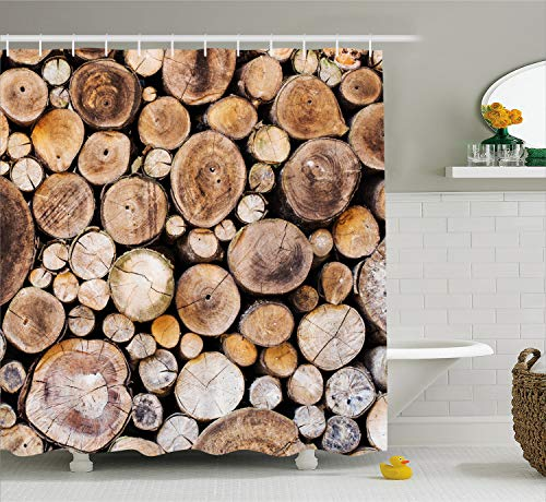 Ambesonne Rustic Shower Curtain, Wooden Logs Background Circular Shaped Oak Tree Life and Growth Theme, Fabric Bathroom Decor Set with Hooks, 70 Inches, Sand Brown
