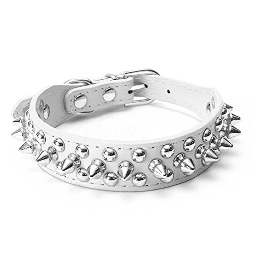 Bull Terrier Collars - PETCARE Mushrooms Spiked Rivet Studded Pu Leather Dog Collar Adjustable Personalized Cool Pet Collars for Bull Boxers Terrier Walking Available in 6 Colors 5 Sizes (L, White)