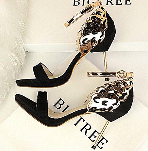 Boucle Cheville Sandales Mode Noir Aiguille Talon Aisun Avec Bride Cocktail Femme wnCqzX1T