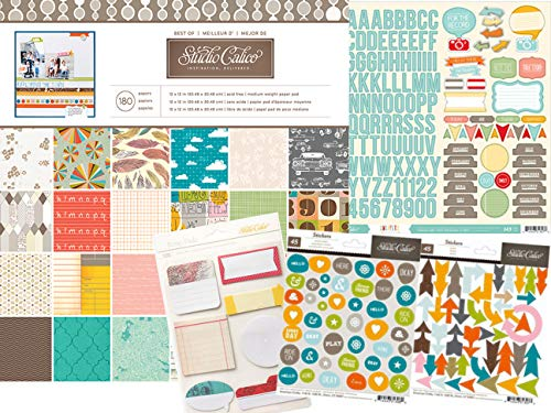 Studio Calico Scrapbook Paper Cardstock 12x12, Assorted Colors Bundle with Matching Stickers and Roller Stamp for Scrapbooking Projects (Studio Scrapbook Paper)