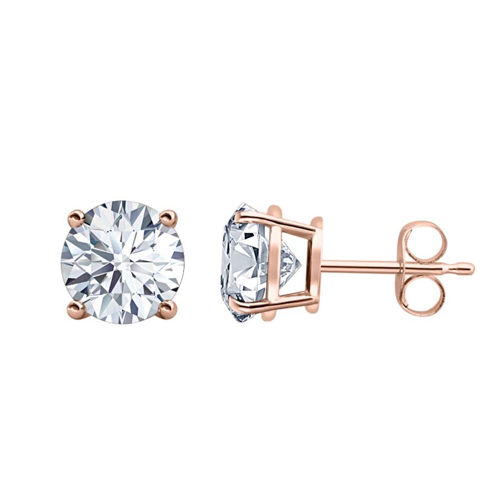 3MM TO 10MM Fancy Party Wear Round Cut Diamond Solitaire Stud Earrings 14K Rose Gold Over .925 Sterling Silver For Womens /& Girls