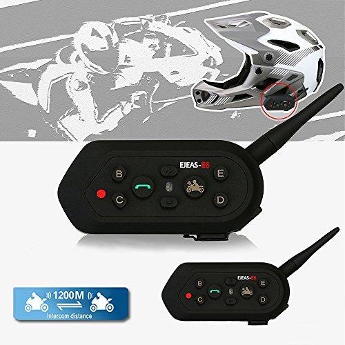 Solarphy Waterproof Motorbike Helmet Intercom 1200M 12 Hours Talk Time Bluetooth Motorcycle Interphone Headset Wireless 6 Riders Walkie Talkie Intercom Communicator Helmet Speakers Headphone (2 Pack)