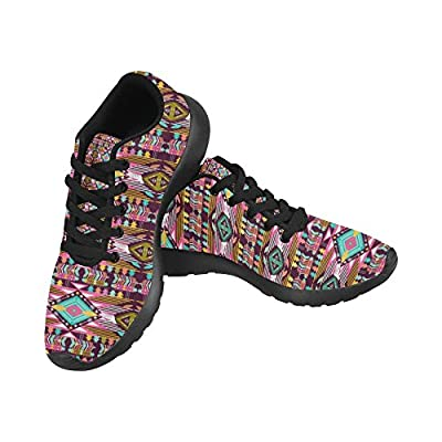 InterestPrint Women's Road Running Shoes Jogging Lightweight Sports Walking Athletic Sneakers Ethnic tribes Purple