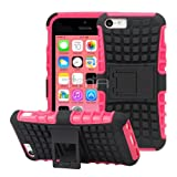 Rugged Impact Hybrid Shock Proof Hard Soft Case Cover Skin With Stand For Apple® iPhone 5C - Dark Pink