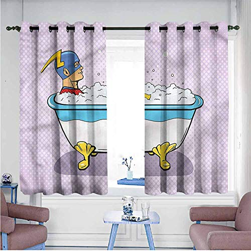 Mdxizc Soft Curtain Comics Superhero Bubble Bath Girl Room Blackout Curtain W63 xL63 Suitable for Bedroom,Living,Room,Study, etc.