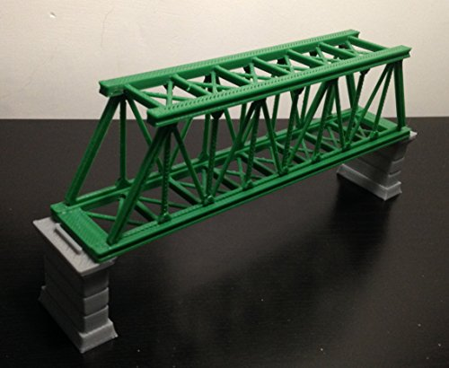 Outland Models Railroad Truss Bridge Green (for Single Track) with Piers Z Scale