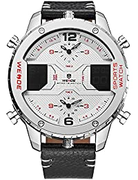 Mens Sport Three Time Zones Analog LCD Display Digital Calendar Date Day Quartz White Face Leather. Weide