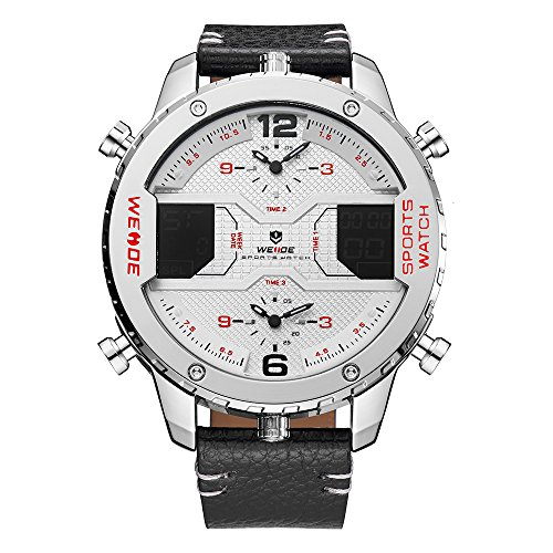 (WEIDE Men's Sport Three Time Zones Analog LCD Display Digital Calendar Date Day Quartz White Face Leather Band Black Wristwatch)