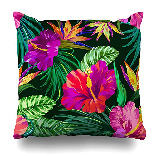 Heliconia Tropical Flower - AileenREE Throw Pillow Covers Heliconia Amazing Tropical Flowers Patten Gorgeus Botanical Hibiscus Palm Bird Paradise File Pattern Pillowcase Square Size 16 x 16 Inches Home Decor Cushion Cases