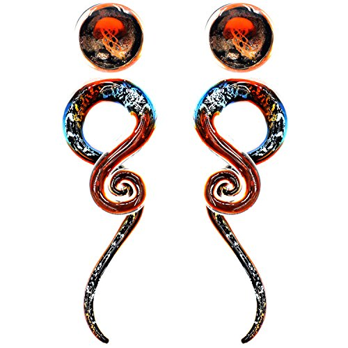 Awinrel Glass Ear Spiral Taper Glitter Expander Stretcher Jellyfish Glass Saddle Plug Gauges Tunnel Piercing 4 Pieces Size 12mm-1/2