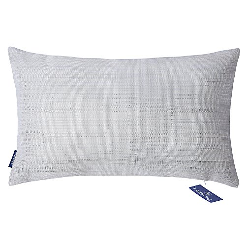 Aitliving Sofa Pillow Cushion Cover Creamy Linen Blend,Silver Threading Metallic Print Breakfast Pillowcase Lumbar Bolster Cushion Pillow Shell 12X20inch, 30x50cm