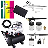 OPHIR 3-Airbrushes Dual Action & Single Action 110V Air Brush Compressor Kit with Tank for Hobby Tattoo Cake