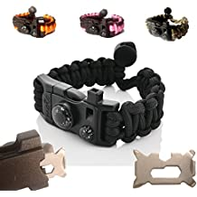 Paracord Bracelet - Survival Bracelet - Men Women Kid Girl - Adjustable - MINI MULTI TOOL CARD - Scrapper - Whistle - Compass - Flint Fire Starter - Fahrenheit Thermometer - Hiking Camping