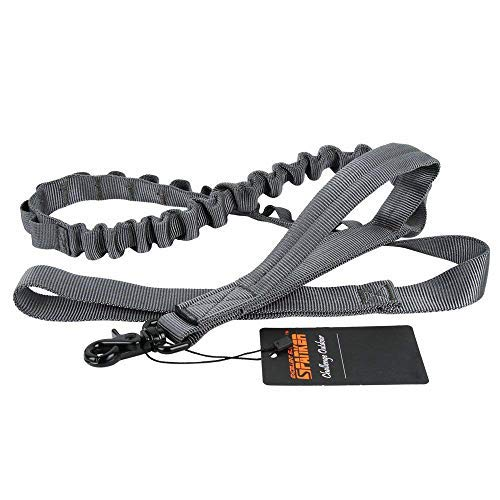 EXCELLENT ELITE SPANKER Tactical Bungee Dog Leash Military Adjustable Dog Leash Quick Release Elastic Leads Rope with 2 Control Handle(Grey