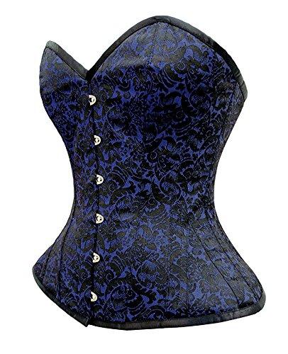 Corsé negro y azul diseño Floral sobre Steampunk negro