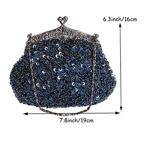 Clutch Purse De YANXH Mariée De Sac Blue À Sac Brodé Soirée Sequine Main Vintage Perlée Sac Mode Diamant Sac De 6F6Z5WxUn